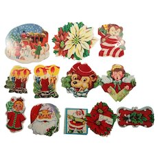 Vintage Christmas Holiday Colorful Gummed Stickers Flocked Velvet