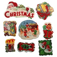Fun Vintage Christmas Holiday Colorful Gummed Stickers Flocked Velvet  Lot of 45