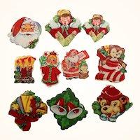 Fun Vintage Christmas Holiday Colorful Gummed Stickers Flocked Velvet  Lot of 45