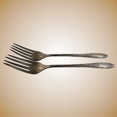 Oneida Sterling Silver Virginian Pattern Pair of Salad Forks