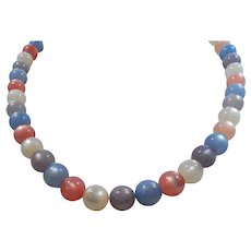 Moonglow Lucite Pink Lilac Blue Pastel Beaded Necklace