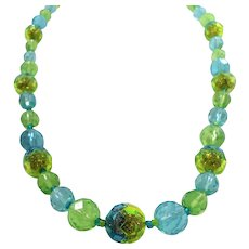 Western Germany Blue Green Glitter Filled Lucite Beaded Necklace