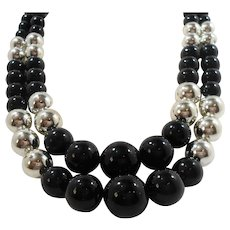 Black Shiny Silvertone Metal Layered Round Beaded Layered Necklace
