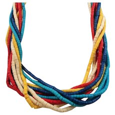 Colorful Tropical Multi Strand Beaded Necklace Dyed Shells Wooden Beads