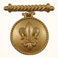 Anne Klein Fleur De Lis Goldtone Dangle Locket Brooch