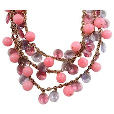 Fun Bold Pink Purple Faceted Lucite Beads Baubles Dangle Necklace