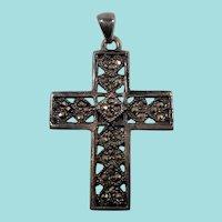 Textured Pierced Sterling Silver Cross Pendant Genuine Marcasites
