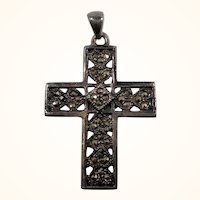 Textured Pierced Sterling Silver Cross Pendant Genuine Marcasites