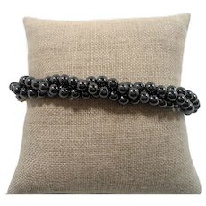 Triple Strand Genuine Hematite Beaded Bracelet