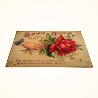 Red Rose Birthday Greetings Unused Postcard 1995
