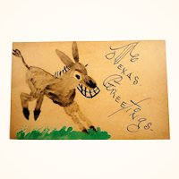 Texas Greetings Hand Painted Donkey Card