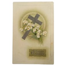 Happy Easter Postcard Cross Flowers
