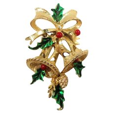 Gerry's Christmas Bells Goldtone Metal Enameled Pin