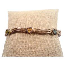 Sterling Silver Bracelet Genuine Heart Shaped Gemstones