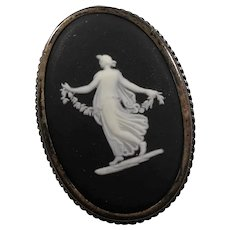Wedgwood Black Jasperware Cameo Sterling  Brooch Made In England