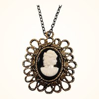 Layered Textured Goldtone Metal Cameo Pendant Necklace