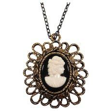Layered Textured Goldtone Metal Cameo Pendant Necklace