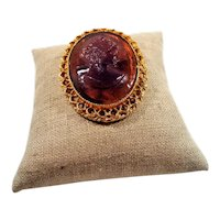 Translucent Purple Glass Cameo Textured Goldtone  Pendant Brooch