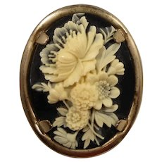 Black Creme Oval Shaped Thermoset Plastic Floral Cameo Style Brooch