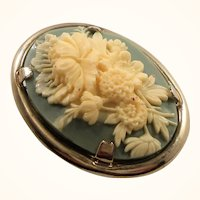 Blue Creme Oval Shaped Thermoset Plastic Floral Cameo Style Brooch