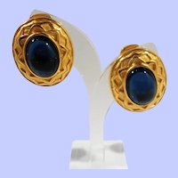 Alfred Sung Domed Sapphire Cabochon Glass Textured Goldtone Clip On Earrings