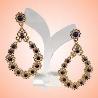 Bold Large Textured Goldtone Flower Designs Blue Cabs Dangle Pierced Earrings