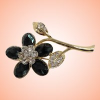 Dimensional Rhinestone Flower Goldtone Metal Brooch