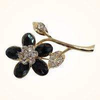 Dimensional Rhinestone Flower Goldtone Metal Brooch