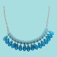 Blue Crystal Dangle Beaded Silvertone Metal Chain Necklace