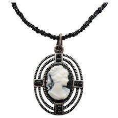Small Black White Cameo Pendant Necklace