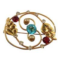 Artco Sterling Goldtone Imitation Pearls Leaves Rhinestone Oval Shaped Brooch