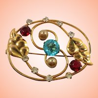 Artco Sterling Goldtone Imitation Pearls Leaves Rhinestone Oval Shaped Brooch