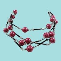 Cranberry Imitation Pearls Black Glass Silvertone Metal Long Necklace
