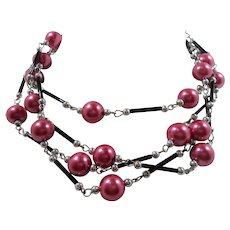 Cranberry Imitation Pearls Black Glass Silvertone Metal Long Necklace