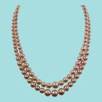 Graduated Double Strand Light Pink Imitation Pearl Beaded Choker Necklace