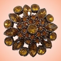 Light Orange Yellow Rhinestones Floral Goldtone Metal Pin