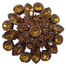 Light Orange Yellow Rhinestones Floral Goldtone Metal Pin