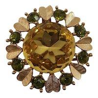 Avon Sweetheart Yellow Olive Rhinestones Goldtone Hearts Pendant Brooch