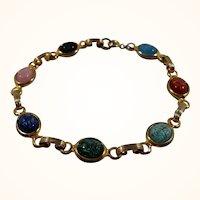Multi Colored Egyptian Scarabs Goldtone Metal Bracelet