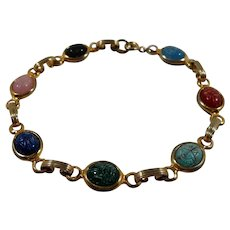Multi Colored Egyptian Scarabs Goldtone Metal Bracelet