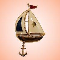 Avon Nautical Patriotic Enameled Sailboat Dangle Anchor Brooch