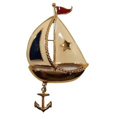 Avon Nautical Patriotic Enameled Sailboat Dangle Anchor Brooch