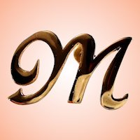 14K Fancy Script Initial M Lapel Pin