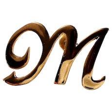 14K Fancy Script Initial M Lapel Pin