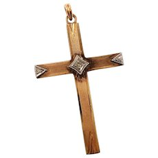 Vintage 14K Gold Textured Cross Pendant