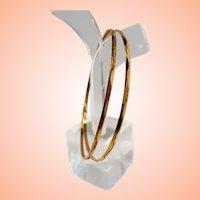 Vintage 14K Etched Thin Dainty Bangle Bracelets  Lebanon Syria