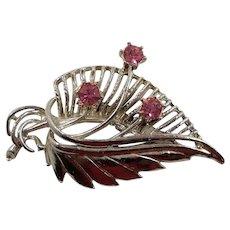 Dimensional Silvertone  Pink Rhinestones Leaf Brooch