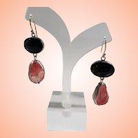 Dimensional Sterling Pink Black Faceted Glass Stones Pierced Earrings  YAM Israel