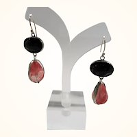 Dimensional Sterling Pink Black Faceted Glass Stones Pierced Earrings