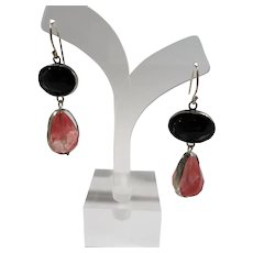 Dimensional Sterling Pink Black Faceted Glass Stones Pierced Earrings  YAM Israel